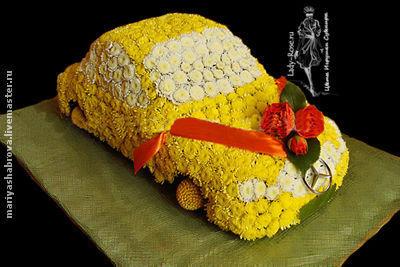 Букеты ручной работы. Ярмарка Мастеров - ручная работа. Купить Машина из цветов. Handmade. Букет из живых цветов, живые цветы