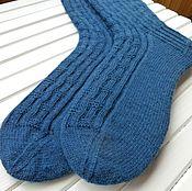 Аксессуары ручной работы. Ярмарка Мастеров - ручная работа Мужские вязаные носки Dark blue. Handmade.