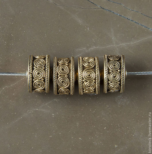 Для украшений ручной работы. Ярмарка Мастеров - ручная работа. Купить Бусина Канди, серебро с позолотой антик. Handmade. Золотой
