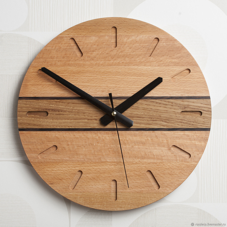 Часы настенные деревянные круглые из бука. №30, Часы классические, Раменское,  Фото №1