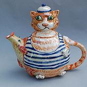 """Посуда ручной работы. Ярмарка Мастеров - ручная работа Чайник """"Рыжий кот и золотая рыбка"""". Handmade."""