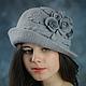 Шляпы ручной работы. Ярмарка Мастеров - ручная работа. Купить Женская шляпка РОЗЫ.. Handmade. Серый, шляпка с полями