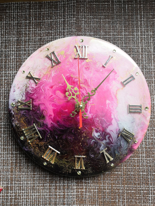 Часы и подставки под горячее из эпоксидной смолы, Часы классические, Москва,  Фото №1