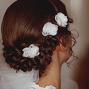 Свадебный салон ручной работы. Ярмарка Мастеров - ручная работа Молочные цветочки шпильки. Handmade.