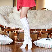 Аксессуары ручной работы. Ярмарка Мастеров - ручная работа Чулки, гольфы выше колена белые из 100% мериносовой шерсти. Handmade.