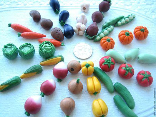 Еда ручной работы. Ярмарка Мастеров - ручная работа. Купить Миниатюрные овощи и фрукты из полимерной глины.. Handmade. Комбинированный