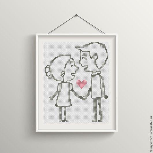 """Вышивка ручной работы. Ярмарка Мастеров - ручная работа. Купить Схема для вышивки крестом """"Влюбленная пара"""". Handmade. Комбинированный"""