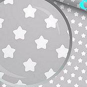 Материалы для творчества ручной работы. Ярмарка Мастеров - ручная работа 100% хлопок, Польша, звезды белые на сером пухлые. Handmade.