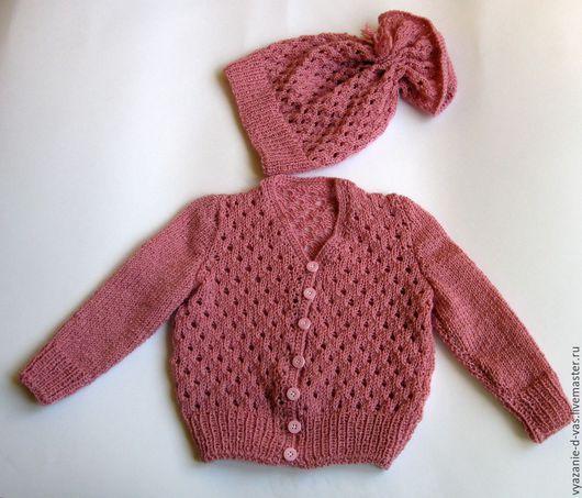 Одежда для девочек, ручной работы. Ярмарка Мастеров - ручная работа. Купить Костюм детский вязаный (кофточка и шапочка ) для девочки Розовые мечты. Handmade.