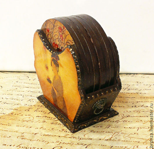 """Кухня ручной работы. Ярмарка Мастеров - ручная работа. Купить Подставки под чашки """"Мемуары гейши"""". Handmade. Рыжий, чаепитие"""