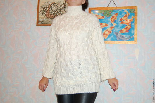 """Кофты и свитера ручной работы. Ярмарка Мастеров - ручная работа. Купить белый свитер """"цепь"""". Handmade. Белый, свитер женский"""