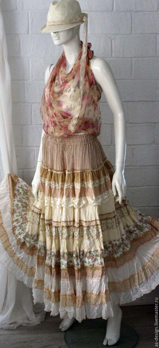 Юбки ручной работы. Ярмарка Мастеров - ручная работа. Купить Нежная, кремовая ,многоярусная, длинная юбка в стиле бохо. Handmade.