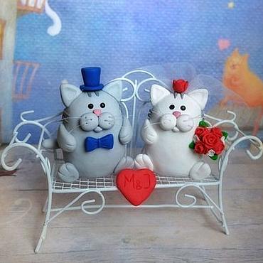 Свадебный салон ручной работы. Ярмарка Мастеров - ручная работа Свадебные фигурки Коты на торт. Handmade.