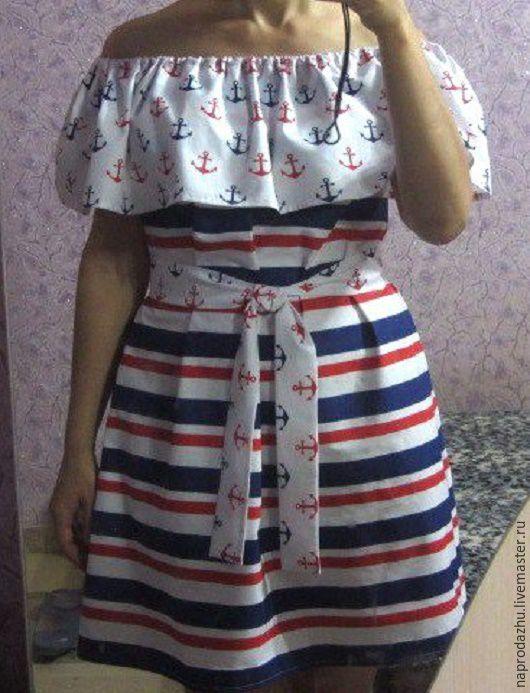 """Платья ручной работы. Ярмарка Мастеров - ручная работа. Купить """"МОРСКОЕ"""" платье с воланом 100% хлопок. Handmade. Комбинированный, с воланами"""