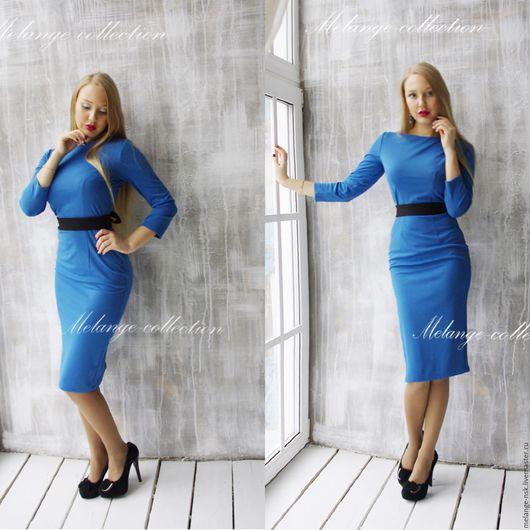 Платья ручной работы. Ярмарка Мастеров - ручная работа. Купить Однотонное платье-футляр для работы. Handmade. Синий, Платье для работы