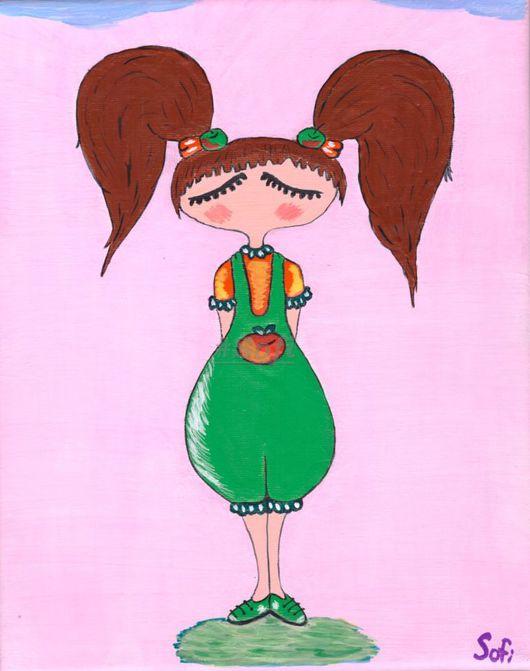 """Люди, ручной работы. Ярмарка Мастеров - ручная работа. Купить Картина акрилом на холсте """" Sofi яблочко"""". Handmade. Разноцветный"""