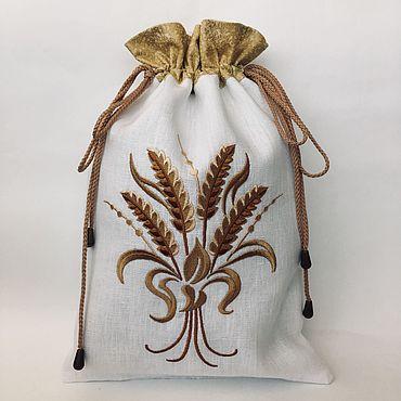 Для дома и интерьера ручной работы. Ярмарка Мастеров - ручная работа Льняной мешочек для хлеба. Handmade.