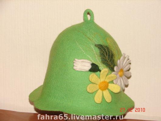"""Банные принадлежности ручной работы. Ярмарка Мастеров - ручная работа. Купить Банная шапка """"Летнее настроение"""". Handmade. Салатовый, цветы"""