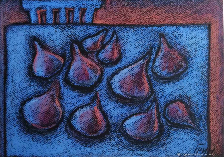 """Картина с инжиром """"Ночной инжир"""" синий, Картины, Копейск,  Фото №1"""
