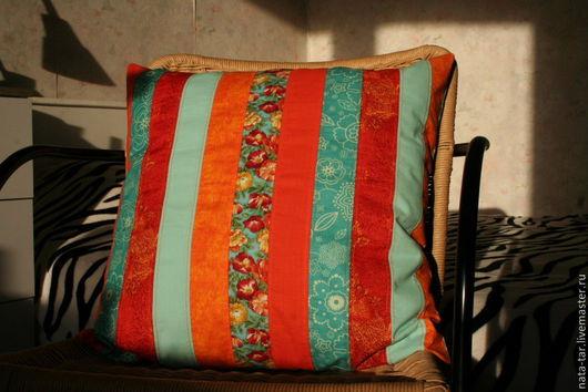 Текстиль, ковры ручной работы. Ярмарка Мастеров - ручная работа. Купить Декоративный чехол для подушки Оранжевый + бирюзовый. Handmade.