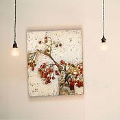 Картины и панно handmade. Livemaster - original item Painting on canvas 50h40 cm Mountain ash (red beige white background). Handmade.