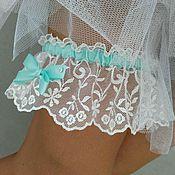"""Свадебный салон ручной работы. Ярмарка Мастеров - ручная работа Подвязка """"Mint"""" свадебная для невесты. Handmade."""