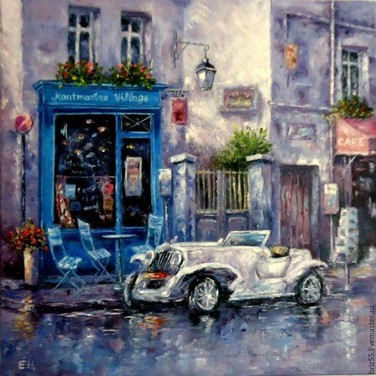 Город ручной работы. Ярмарка Мастеров - ручная работа. Купить Монмартр после дождя, картина маслом. Handmade. Сиреневый, Монмартр