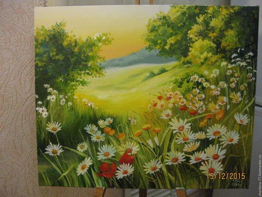 Картины цветов ручной работы. Ярмарка Мастеров - ручная работа. Купить Полевые цветы. Handmade. Зеленый, ромашки, ромашковое поле
