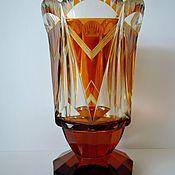 Винтаж handmade. Livemaster - original item Yellow colored glass vase. Art Deco.Hajda. 20 cm. Amber, honey. Handmade.