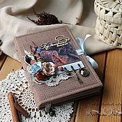 Канцелярские товары handmade. Livemaster - original item Brown flax recipe book. Handmade.