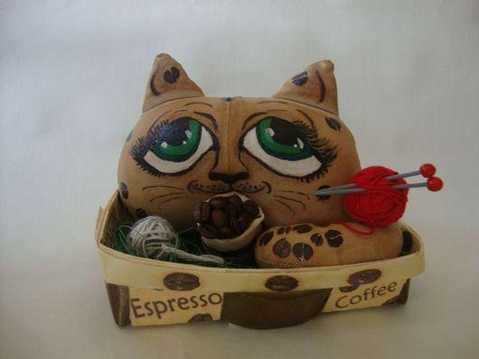 Ароматизированные куклы ручной работы. Ярмарка Мастеров - ручная работа. Купить Кофейно-вязальный кот. Handmade. Кот, кофейная игрушка