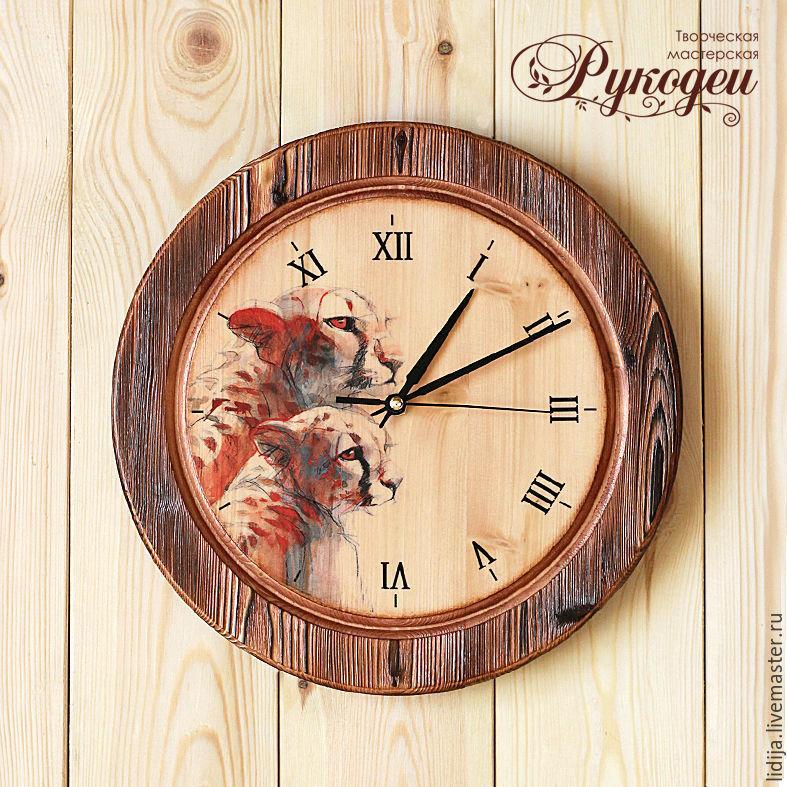 """Часы настенные деревянные """"Леопарды"""", Часы, Санкт-Петербург, Фото №1"""