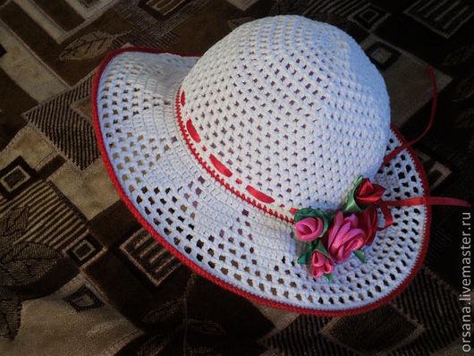 Панамы ручной работы. Ярмарка Мастеров - ручная работа. Купить панамка для принцес. Handmade. Панамка для девочки, летняя панамка, белое