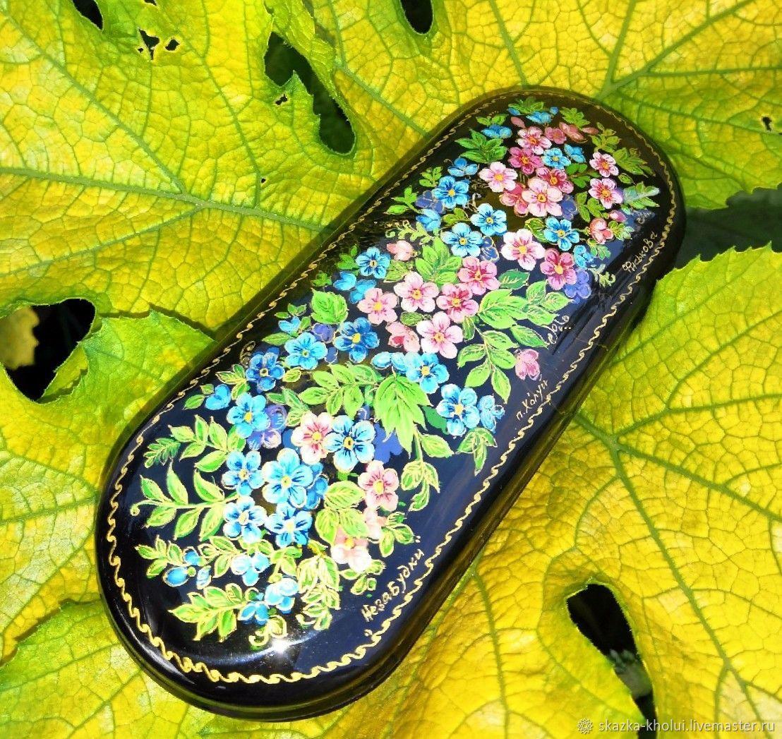 eyeglass case: Forget-me-nots .Eyeglass case with miniature painting, Eyeglass case, Yuzha,  Фото №1