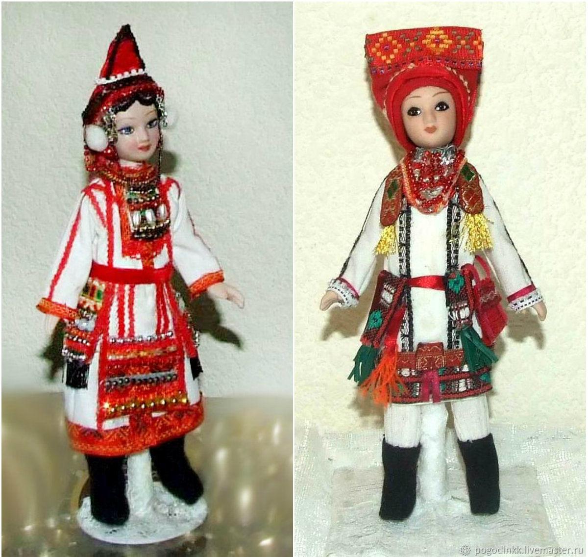 Muzzles Moksha and Erzya in national costume, Dolls, Cheboksary,  Фото №1