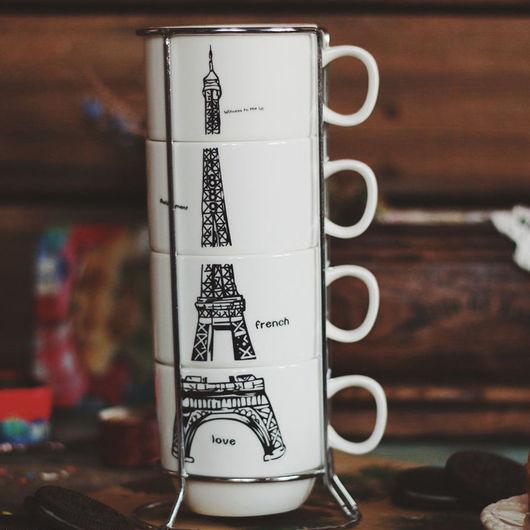 Материалы для флористики ручной работы. Ярмарка Мастеров - ручная работа. Купить Набор керамических чашек на подставке «Paris» 180 мл. Handmade.