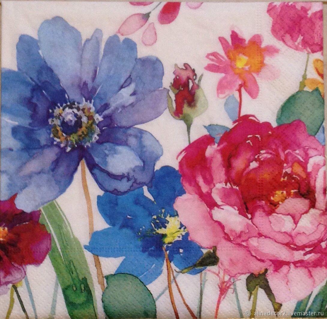 549.  Napkin for decoupage Flowers colorful, Napkins for decoupage, Ramenskoye,  Фото №1