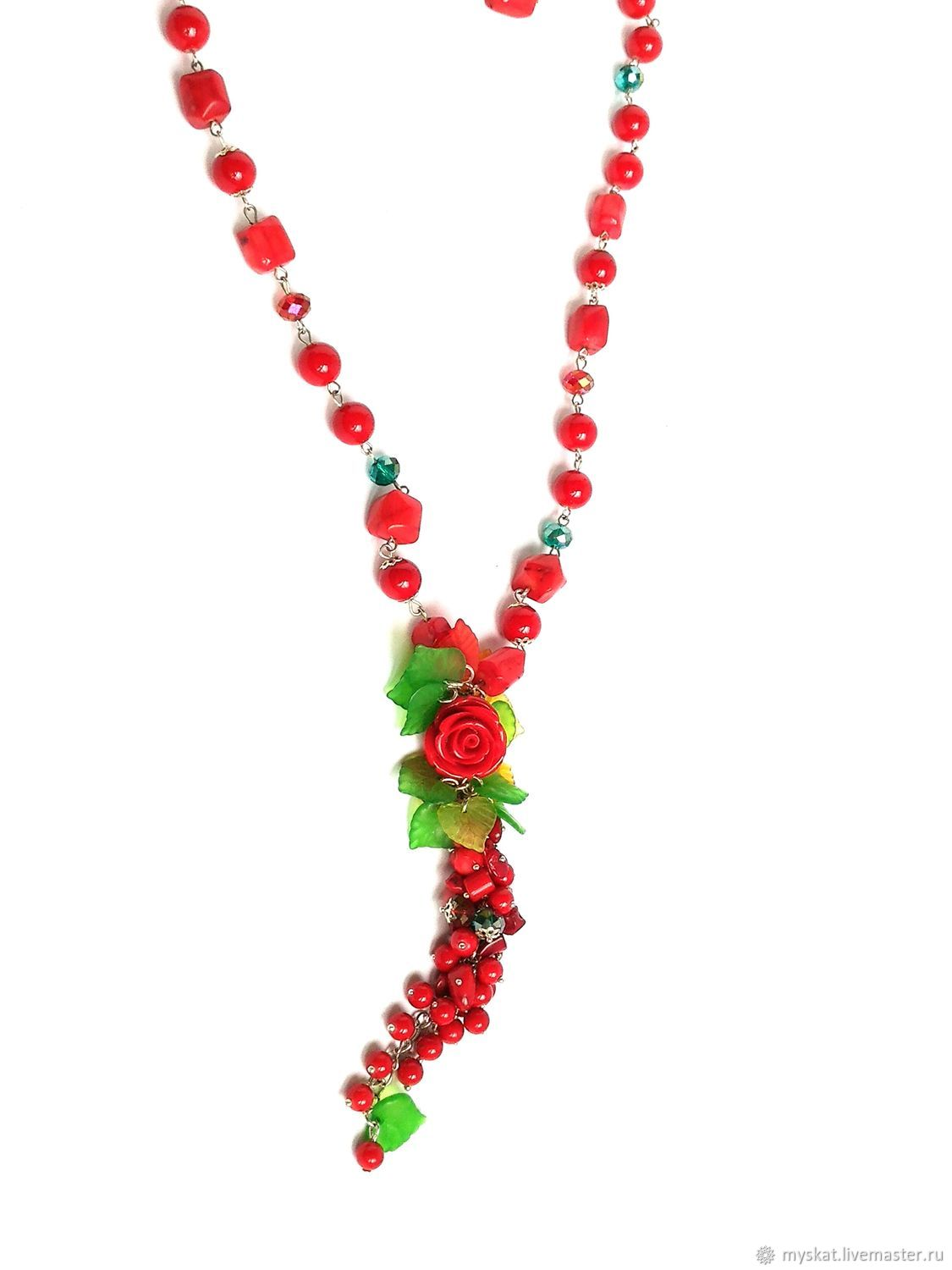 With pendant of natural coral with a bunch, Necklace, Moscow,  Фото №1