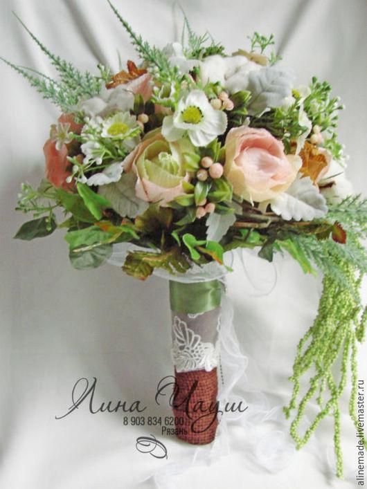 Свадебные цветы ручной работы. Ярмарка Мастеров - ручная работа. Купить Свадебный эко-букет. Handmade. Салатовый, гофрированная бумага