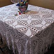 Для дома и интерьера ручной работы. Ярмарка Мастеров - ручная работа скатерть вязанная крючком ажурная белая 100%хлопок. Handmade.