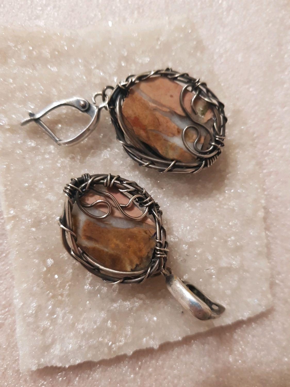 Earrings with jasper (quartz), Earrings, Voronezh,  Фото №1