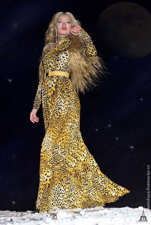 Платья ручной работы. Ярмарка Мастеров - ручная работа. Купить Платье из джерси. Handmade. Звериная расцветка, красивое платье, джерси