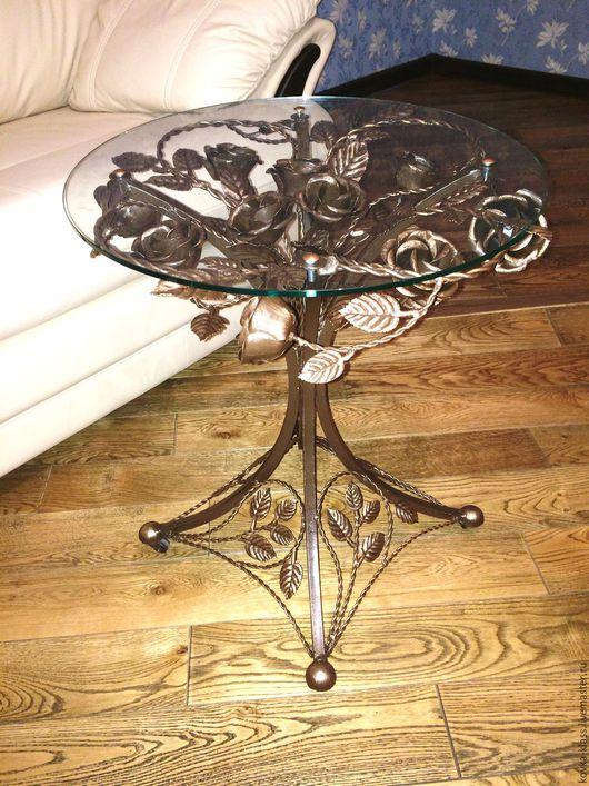 Мебель ручной работы. Ярмарка Мастеров - ручная работа. Купить Кофейный столик из кованых роз. Handmade. Золотой, кофейный