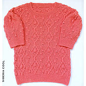 Одежда handmade. Livemaster - original item Sweater women`s Coral rose, coral, braids, roses, 100% cotton. Handmade.