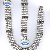 Украшения handmade. Livemaster - original item pearl blue / grey / silver. Handmade.