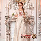"""Одежда handmade. Livemaster - original item Платье с вышивкой """"Берегиня"""" с секретом для кормления малыша. Handmade."""