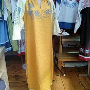 Русский стиль ручной работы. Ярмарка Мастеров - ручная работа платье льняное вышитое. Handmade.