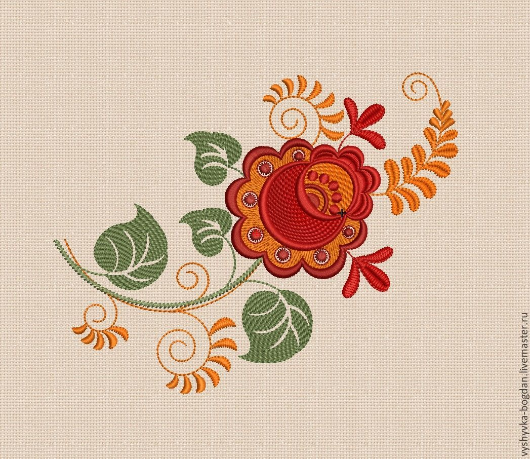 Flowers khokhloma Embroidery Design satin stitch hoop size 14 x 20 cm –  shop online on Livemaster with shipping - CTVA7COM | Ivano-Frankivsk
