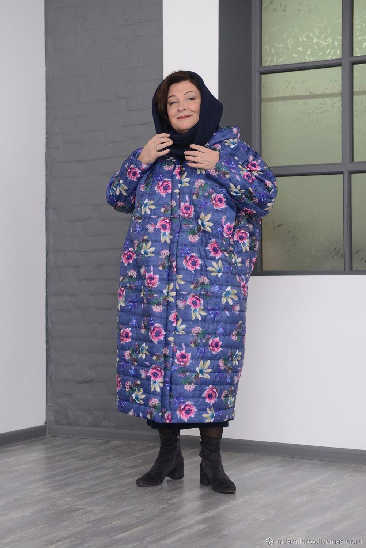 60bb0ea3577 Ярмарка Мастеров - ручная работа. Купить Пальто большой ромб с · Большие  размеры ручной работы. Пальто большой ромб с капюшоном стеганое цветное  Арт. 2805.