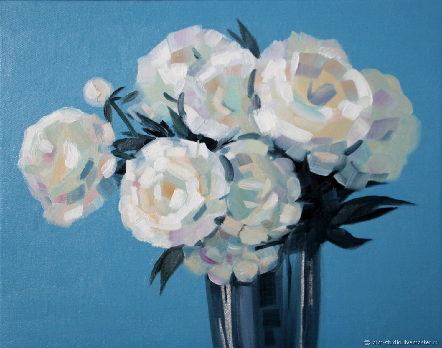 White flowers, oil on canvas, 40*50 cm, Pictures, Obninsk,  Фото №1
